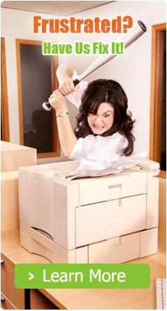 Lady frustrated with printer
